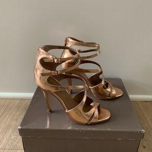 Renvy phoebe rose gold strappy heels